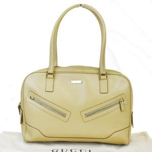 GUCCI GG Pattern Tote Hand Bag Leather Beige Gold